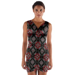 Abstract Black And Red Pattern Wrap Front Bodycon Dress