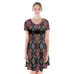 Abstract Black And Red Pattern Short Sleeve V Neck Flare Dress