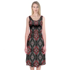 Abstract Black And Red Pattern Midi Sleeveless Dress