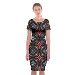 Abstract Black And Red Pattern Classic Short Sleeve Midi Dress