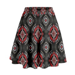 Abstract Black And Red Pattern High Waist Skirt