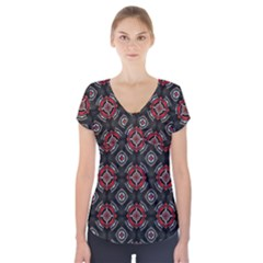 Abstract Black And Red Pattern Short Sleeve Front Detail Top