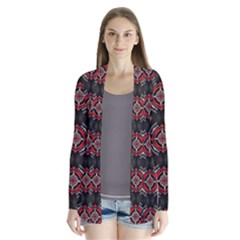 Abstract Black And Red Pattern Cardigans