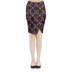Abstract Black And Red Pattern Midi Wrap Pencil Skirt