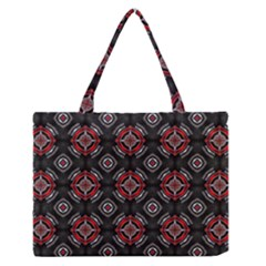 Abstract Black And Red Pattern Medium Zipper Tote Bag