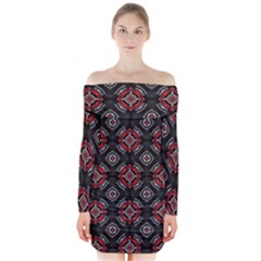 Abstract Black And Red Pattern Long Sleeve Off Shoulder Dress