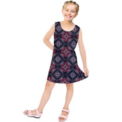 Abstract Black And Red Pattern Kids  Tunic Dress