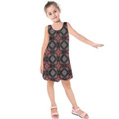 Abstract Black And Red Pattern Kids  Sleeveless Dress
