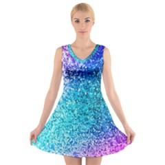 Rainbow sparkles V-Neck Sleeveless Skater Dress