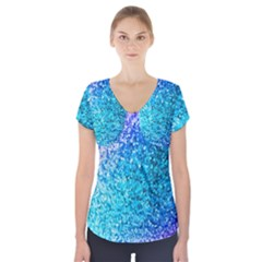 Rainbow sparkles Short Sleeve Front Detail Top