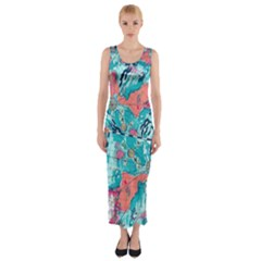 Map Fitted Maxi Dress