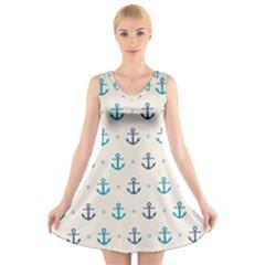 Sailor anchor V-Neck Sleeveless Skater Dress