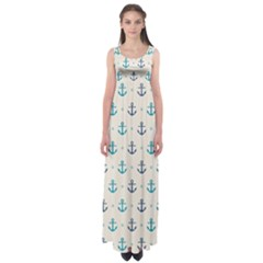 Sailor anchor Empire Waist Maxi Dress