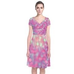 Colorful sparkles Short Sleeve Front Wrap Dress
