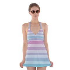 Colorful vertical lines Halter Swimsuit Dress