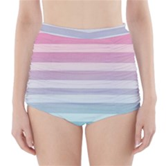 Colorful vertical lines High-Waisted Bikini Bottoms