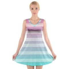 Colorful vertical lines V-Neck Sleeveless Skater Dress