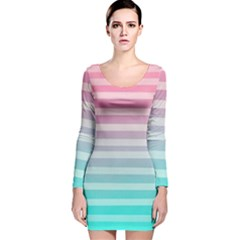Colorful vertical lines Long Sleeve Velvet Bodycon Dress