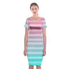 Colorful vertical lines Classic Short Sleeve Midi Dress