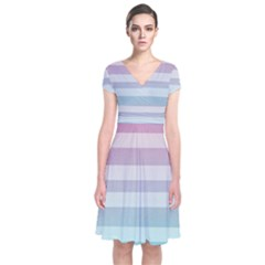 Colorful vertical lines Short Sleeve Front Wrap Dress