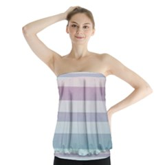 Colorful vertical lines Strapless Top