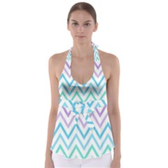 Colorful wavy lines Babydoll Tankini Top
