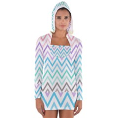 Colorful wavy lines Women s Long Sleeve Hooded T-shirt