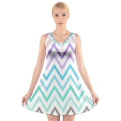 Colorful wavy lines V-Neck Sleeveless Skater Dress