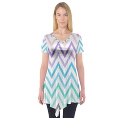 Colorful wavy lines Short Sleeve Tunic