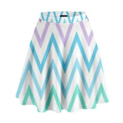 Colorful wavy lines High Waist Skirt