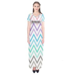 Colorful wavy lines Short Sleeve Maxi Dress