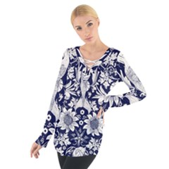 Deep blue flower Women s Tie Up Tee