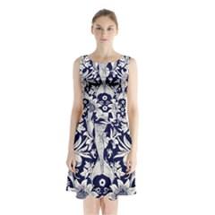 Deep blue flower Sleeveless Chiffon Waist Tie Dress