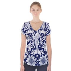 Deep blue flower Short Sleeve Front Detail Top
