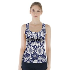 Deep blue flower Racer Back Sports Top