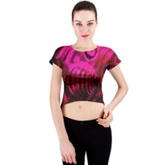 Abstract Bubble Background Crew Neck Crop Top