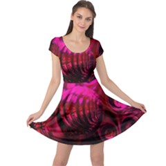 Abstract Bubble Background Cap Sleeve Dresses