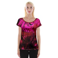 Abstract Bubble Background Women s Cap Sleeve Top