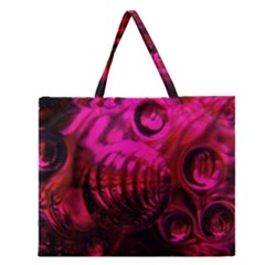 Abstract Bubble Background Zipper Large Tote Bag