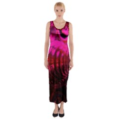 Abstract Bubble Background Fitted Maxi Dress