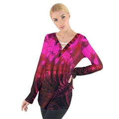 Abstract Bubble Background Women s Tie Up Tee