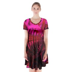 Abstract Bubble Background Short Sleeve V Neck Flare Dress
