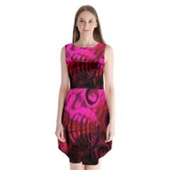 Abstract Bubble Background Sleeveless Chiffon Dress