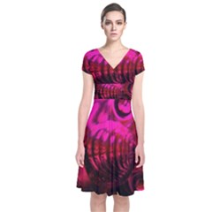 Abstract Bubble Background Short Sleeve Front Wrap Dress