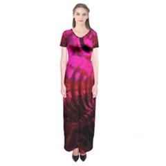 Abstract Bubble Background Short Sleeve Maxi Dress