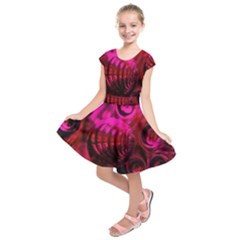 Abstract Bubble Background Kids  Short Sleeve Dress