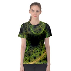 Abstract Circles Yellow Black Women s Sport Mesh Tee
