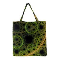 Abstract Circles Yellow Black Grocery Tote Bag