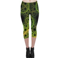 Abstract Circles Yellow Black Capri Leggings