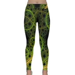 Abstract Circles Yellow Black Classic Yoga Leggings